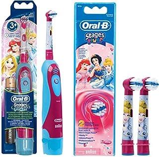 SPAR-SET: 1 Braun Oral-B Stages Power Kids cls Batterie-Zahnbürste Kinder DB4.510.K Disney Prinzessin Cinderella + 2er Sta...