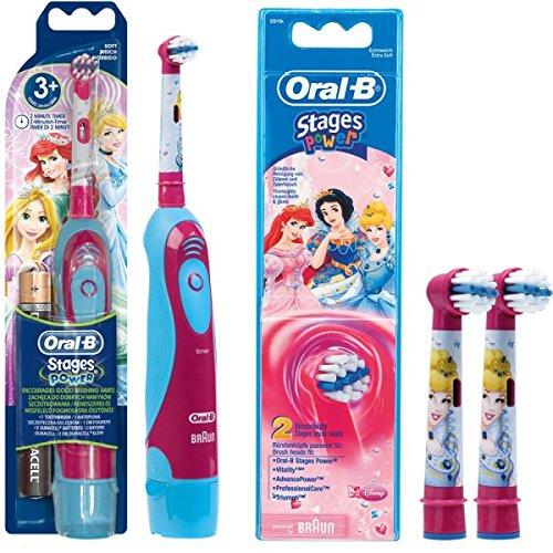 SPAR-SET: 1 Braun Oral-B Stages Power Kids cls Batterie-Zahnbürste Kinder DB4.510.K Disney Prinzessin Cinderella + 2er Stages Power Aufsteckbürsten Princess