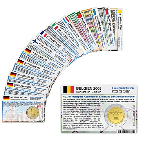14 Münzkarten ohne Münze (10 Länder) Münzkarten von 2008 für 2-Euro Gedenkmünzen Größe: ca. 86 x 54 mm, Karton ca. 350g/m²