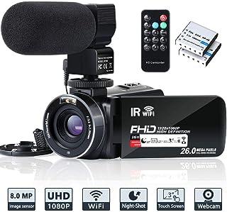 Videocámara WiFi FHD 1080P 30FPS IR Visión Nocturna Youtube Vlogging Camera Recorder 26MP Pantalla táctil de 3 Pulgadas 16X Zoom Digital Videocámara con Control Remoto micrófono y 2 baterías