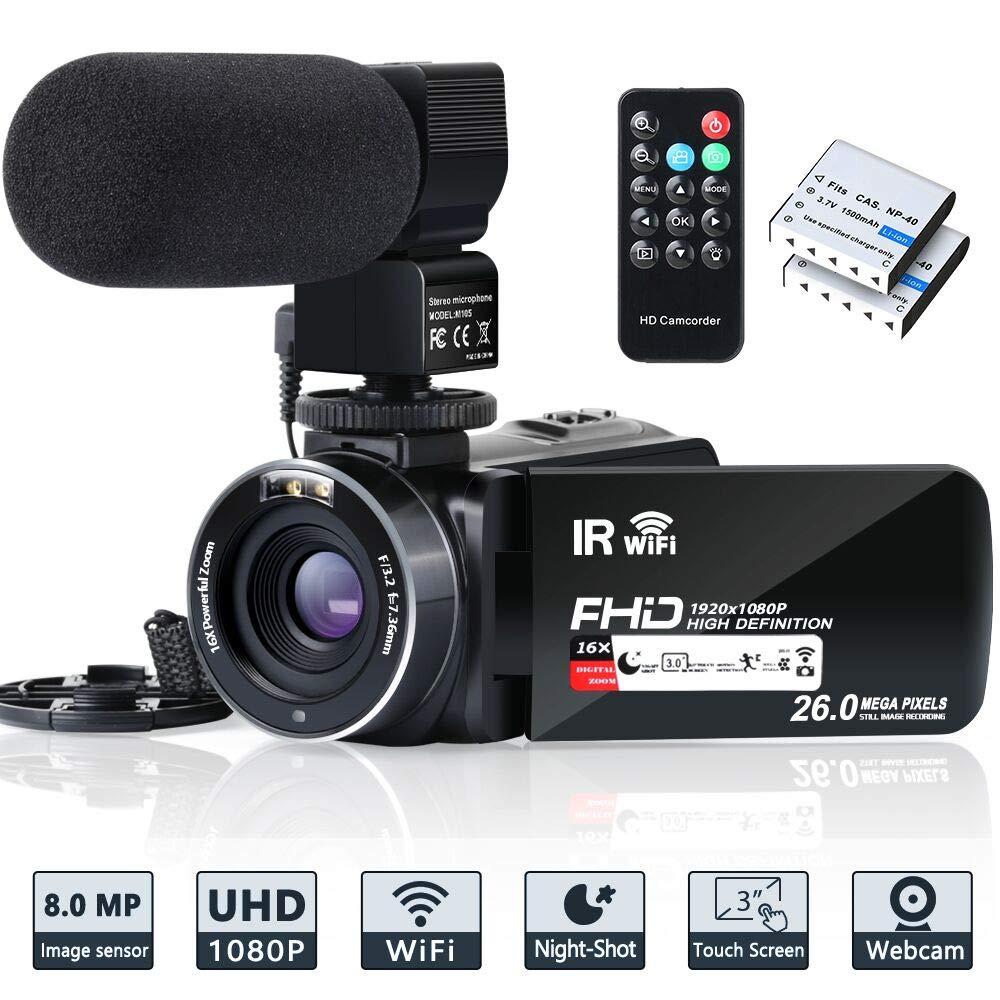 Camcorder Vlogging Recorder Microphone Batteries
