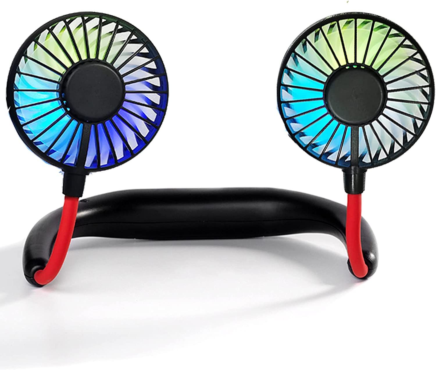 Coolingstyle Portable Wearable Neck Fan Hand Free Personal Mini USB Recharged Fan with 3 Level Air Flow, 7 LED lights, 360 Degree Free Rotation personal cooling fan handheld portable fans,Wearable neck fan Suitable for Traveling ,Fishing, Office,Shopping