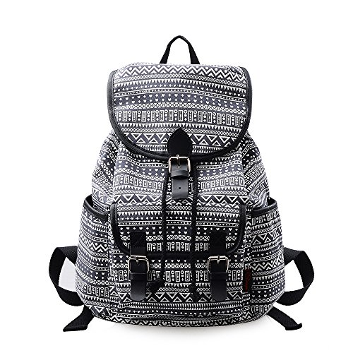 MoreChic School Backpack Floral Print Backpack Women Casual Canvas Travel Bag Girls