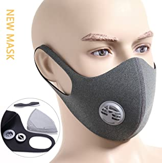 Activated Carbon Dustproof/Dust Mask - Filter Cotton Sheet and Valves for Exhaust Gas, Pollen Allergy, PM2.5, Running, Cycling, Outdoor Activities