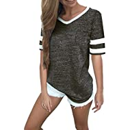 Women Short Sleeve Shirts V Neck Color Block Stripe Patchwork Baseball Tunic Tee Tops