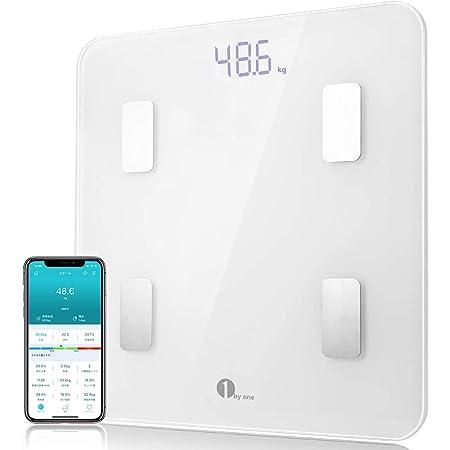 【特典 期間限定】1byone 体重計 体組成計 体脂肪計 薄型 高精度 Bluetooth対応 ボディスケール 体重/体脂肪率/体水分率/骨量/基礎代謝量/BMIなど14種類のデータを測定 健康管理 iOS/Android対応 スマホでデータ管理 日本語説明書付き A-JP15 ホワイト