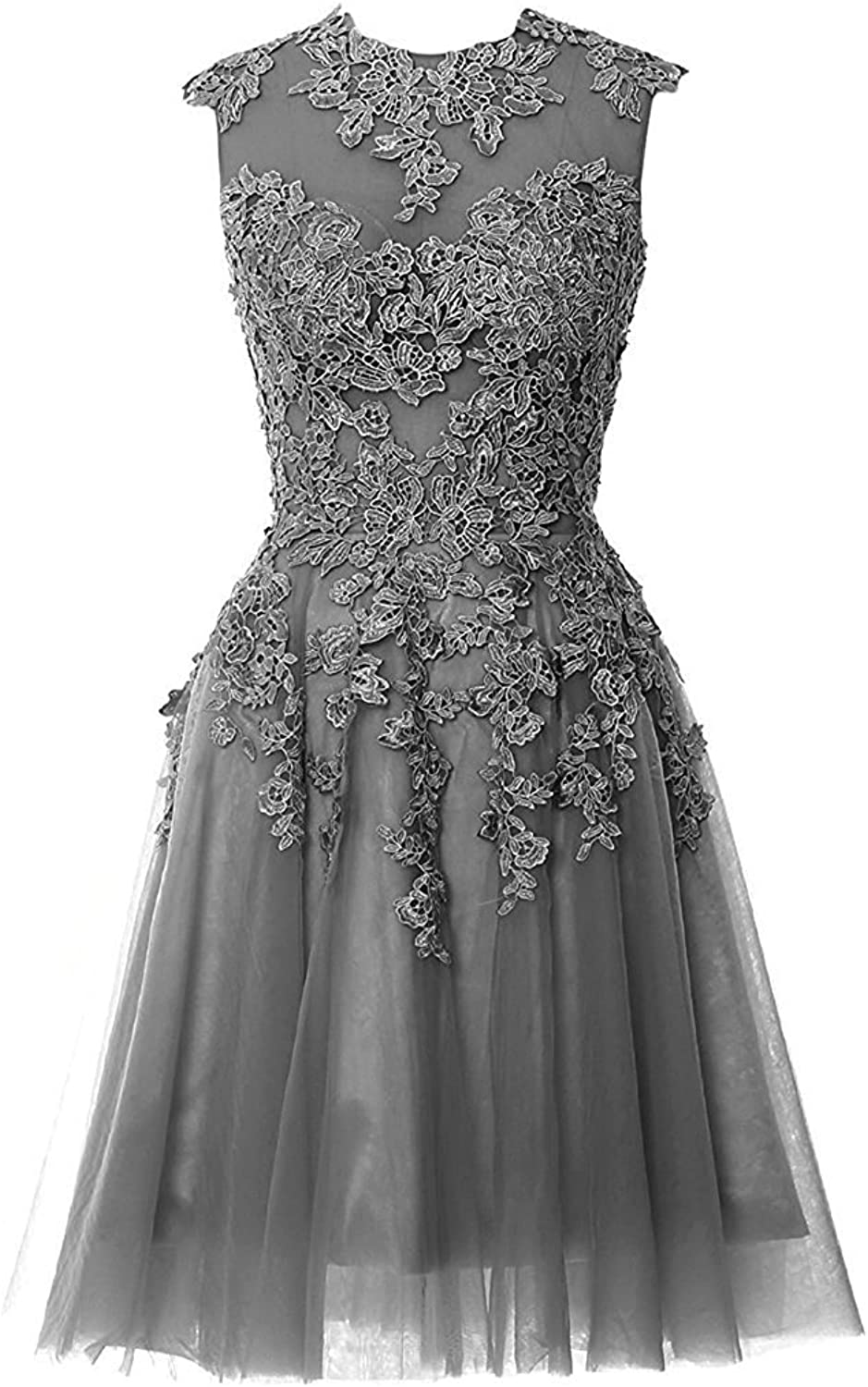 DINGZAN Sexy Sheer Lace Bodice Cocktail Graduation Homecoming Dresses Short