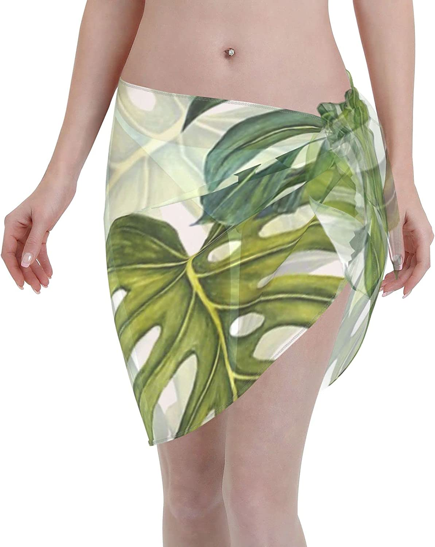 Monstera Leaf Tropical Pattern - Green Women Chiffon Beach Cover ups Beach Swimsuit Wrap Skirt wrap Bathing Suits for Women
