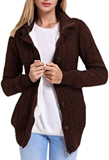 Womens Hooded Knit Cardigans Button Front Cable Sweater Coat
