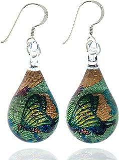 925 Sterling Silver Glass Jewelry Green Glitter Butterfly In The Flower Garden Dangle Hook Earrings