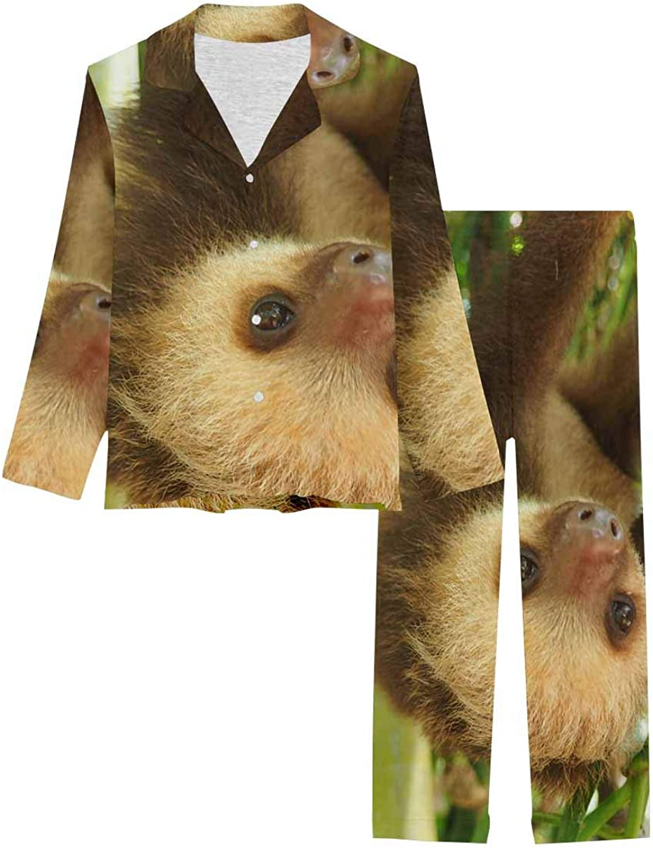 InterestPrint Long Sleeve Button Down Nightwear with Long Pants Sloth Hanging on a Branch