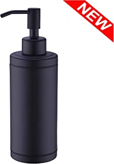Kmeino Full Stainless Steel Countertop Soap Dispenser, Prime 300 ML Liquid Bottle for Kitchen & Bathroom Hand Dish Lotion (Black soap Dispenser)