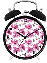 22yiihannz ing Orchid Branches Spring Time Feng Shui Inspired Bouquet,Battery Operated Quartz Ring Alarm Clock for Home,Office,Bedroom,Fuchsia Cocoa Pale_4inch
