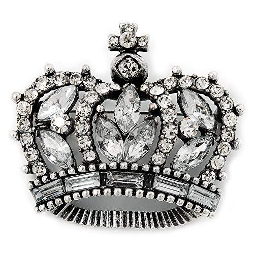 Spilla a forma di corona con zirconi, in metallo, color argento brunito