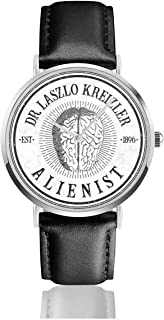 Unisex Business Casual Dr Laszlo Kreizler Sign The Alienist Watches Quartz Leather Watch with Black Leather Band for Men Women Young Collection Gift
