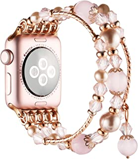 Simpeak Band Compatible with Apple Watch 38mm 40mm, Fixed Size 5.7-6.9,Handmade Beaded Elastic Bracelet Replacement for Apple Watch 5/4/3/2, Rose Pink