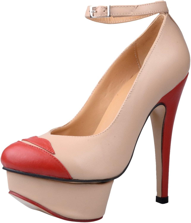 Calaier Womens Caustralia Fashion Designer High Heel Round Toe 14CM Stiletto Buckle Pumps shoes