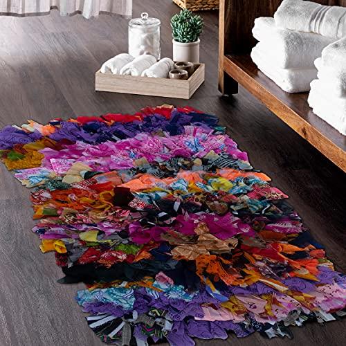"CHARDIN HOME Rainbow Shag Rug Multi Color | Boho Rug for Bedroom, Kitchen, Entrance Bathroom and More | Recycled Rag chindi Shaggy Rug 20x30 (20""x30"")"