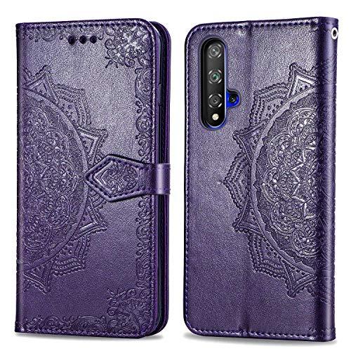 Bear Village Hülle für Huawei Nova 5, PU Lederhülle Handyhülle für Huawei Nova 5, Brieftasche Kratzfestes Magnet Handytasche mit Kartenfach, Violett