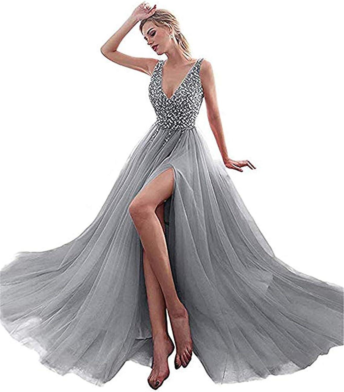 CIRCLEWLD Beaded Prom Dresses Sexy Deep V Neck SeeThrough High Slit Long Formal Evening Women P86