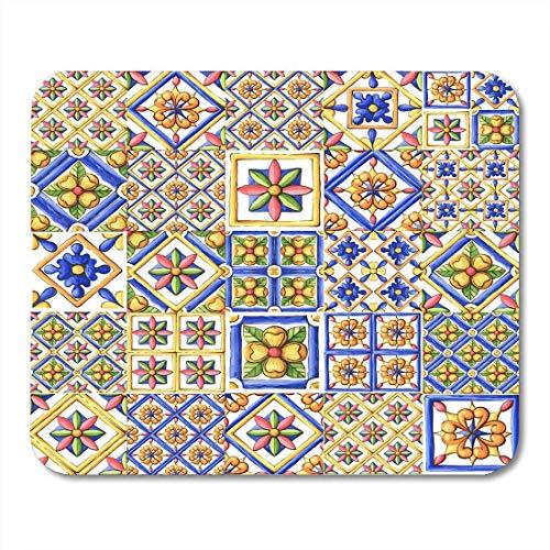 Mauspad blau ornamente fliesen aquarell spanien italien majolika blumenbraun mousepad für notebooks, Desktop-computer mausmatten, Büromaterial