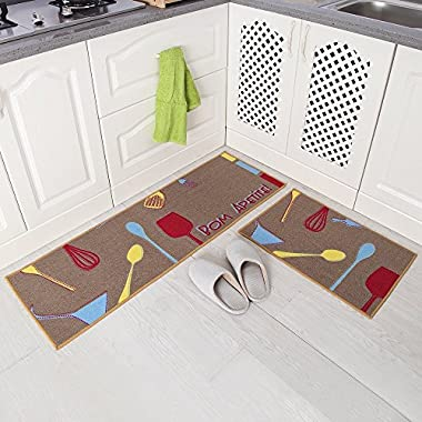 Carvapet 2 Piece Non-Slip Kitchen Mat Rubber Backing Doormat Runner Rug Set, Kitchenware Design (Brown 15 x47 +15 x23 )