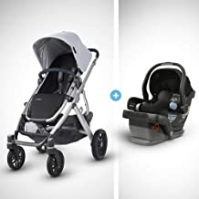 UPPAbaby Vista Stroller - William (Chambray Oxford/Silver/Navy Leather) + Mesa Infant Car Seat - Jake (Black)