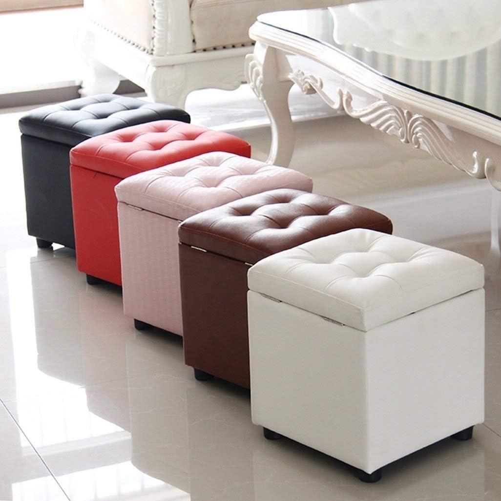 Tabouret Tabouret De Rangement-pieds Tabourets En Cuir Ottoman Pouf De Rangement Toy Box Seater Banquette - 40 X 40 X 40 Cm mwsoz (Couleur : E) C