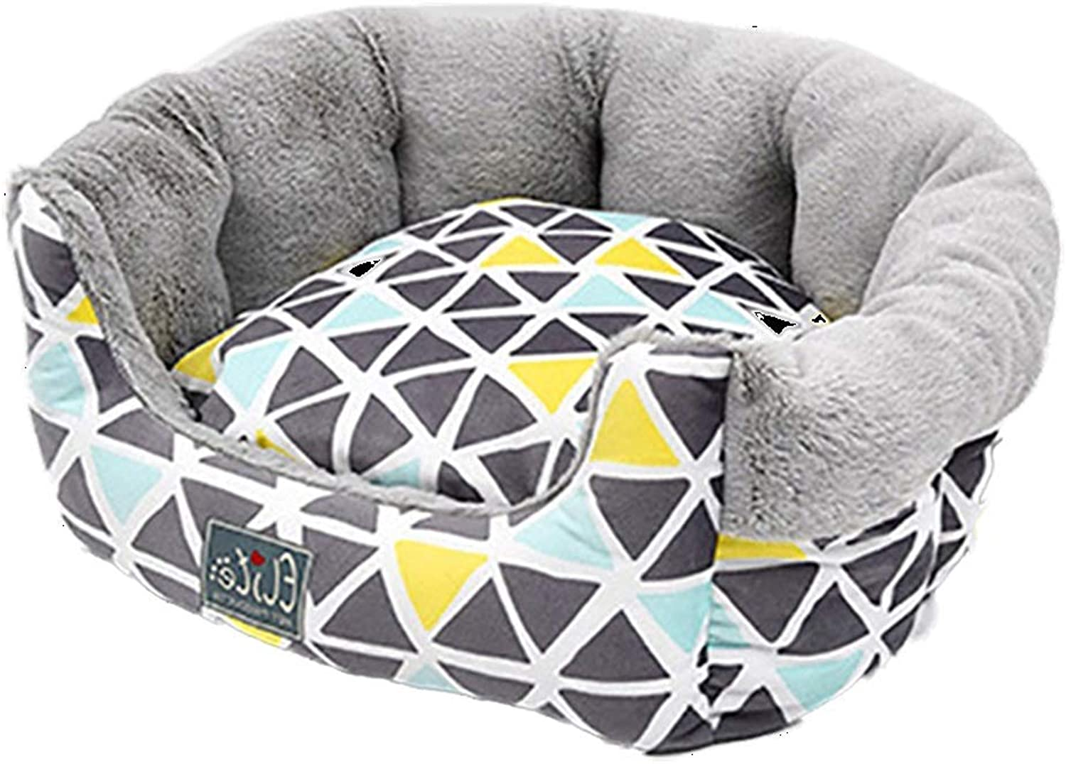 Round Pet Dog Bed Nordic Style Short Plush Fluffy Warm Soft Kennel Dog Pad Cushion Winter Washable Wear Resistant Moisture Proof (Size   S)