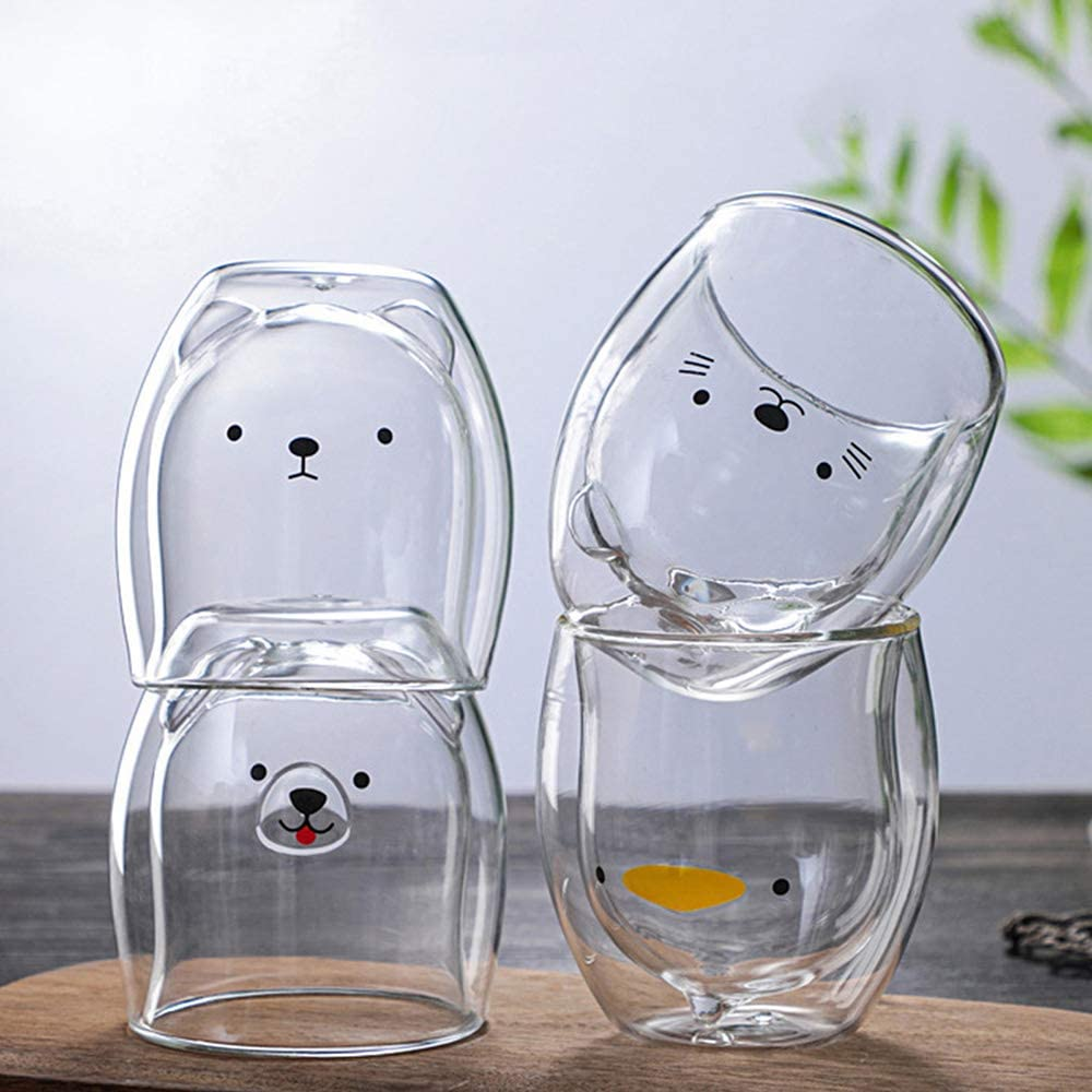 Okngr Clear Coffee Mugs Set 2 Pack Bear Tea Cup Milk Cup Double Wall Glass Mug with Handle Double Wall Insulated Glasses Espresso Mugs Mini Latte Cups Birthday Gift for Boys and Girls