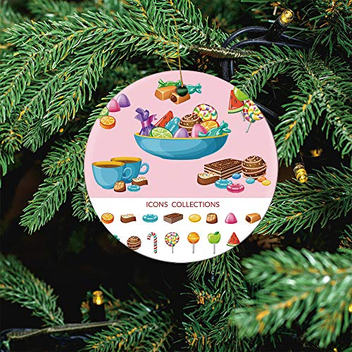 ALUONI Sweet Candy Icon Christmas Ornaments 2020 Christmas Ceramic Pendant Personalized Creative Christmas Decorations Double Sided Christmas Tree Ornament SW46574 3PCS