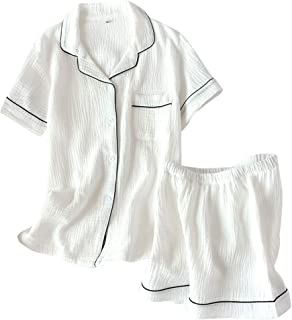 パジャマ レディース 綿100% 半袖 ルームウェア 半袖シャツ ショートパンツ 上下セット部屋着 衿付き 可愛いパジャマ 通気 吸汗速乾 肌に優しい 夏