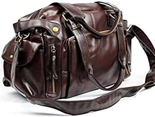 Men Artificail Leather Travel Bag Fashion Men's Tote Portable Luggage Bags GYM Sport Hiking Messenger Crossbody Bag (Brown)