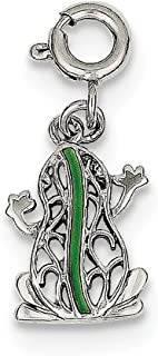 925 Sterling Silver Green Enameled Frog Pendant Charm Necklace Animal Fine Jewelry Gifts For Women For Her