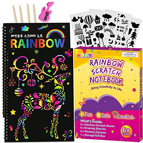 pigipigi Rainbow Scratch Paper for Kids  2 Pack Scratch Off Notebooks Arts Crafts Supplies Kits Drawing Paper Black Magic Sheets Scratch Pad Activity Toy for Girls Boys Game Christmas Birthday Gift