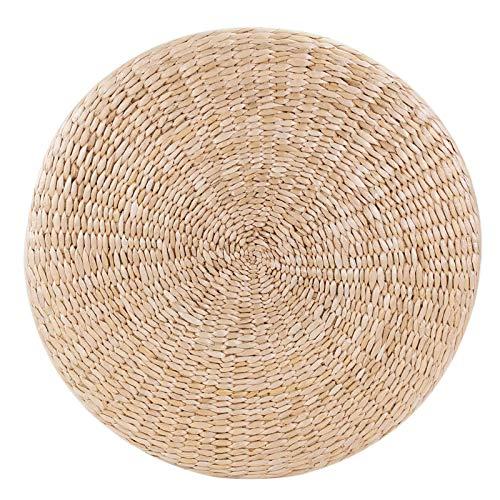 Lshbwsoif Esterilla de yoga redonda de 50 cm para futón tatami, esterilla de paja natural, para meditación, yoga, pilates y gimnasia.
