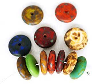 14pcs Matte Mix Picasso Green Blue Red Yellow Etched Round Disk Spacer Washer Solo One Hole Disc Flat Czech Glass Beads 12mm