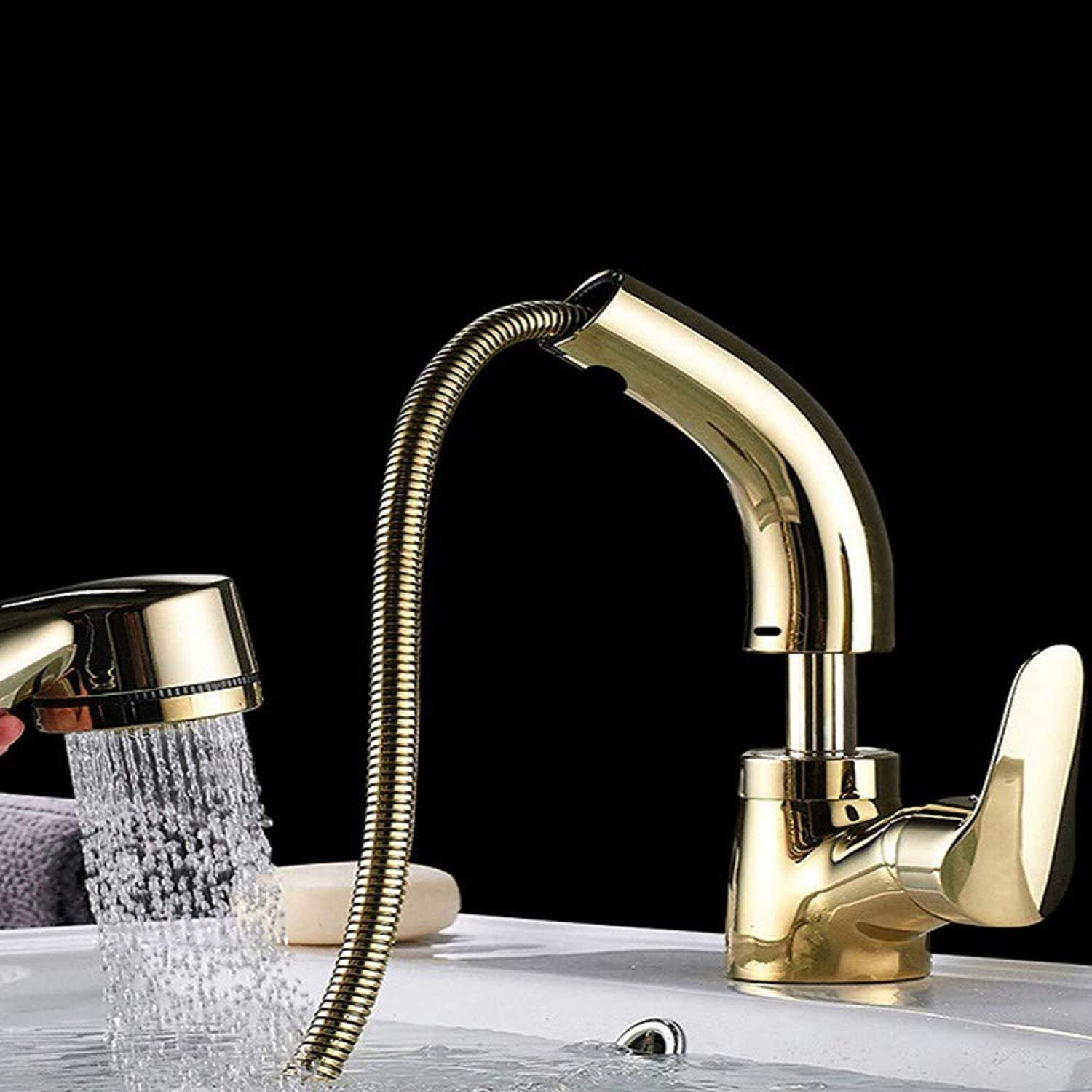 golden Hot and Cold Water Basin Pull Faucet Basin Faucet Can Be Lifted and Lowered redary Faucet