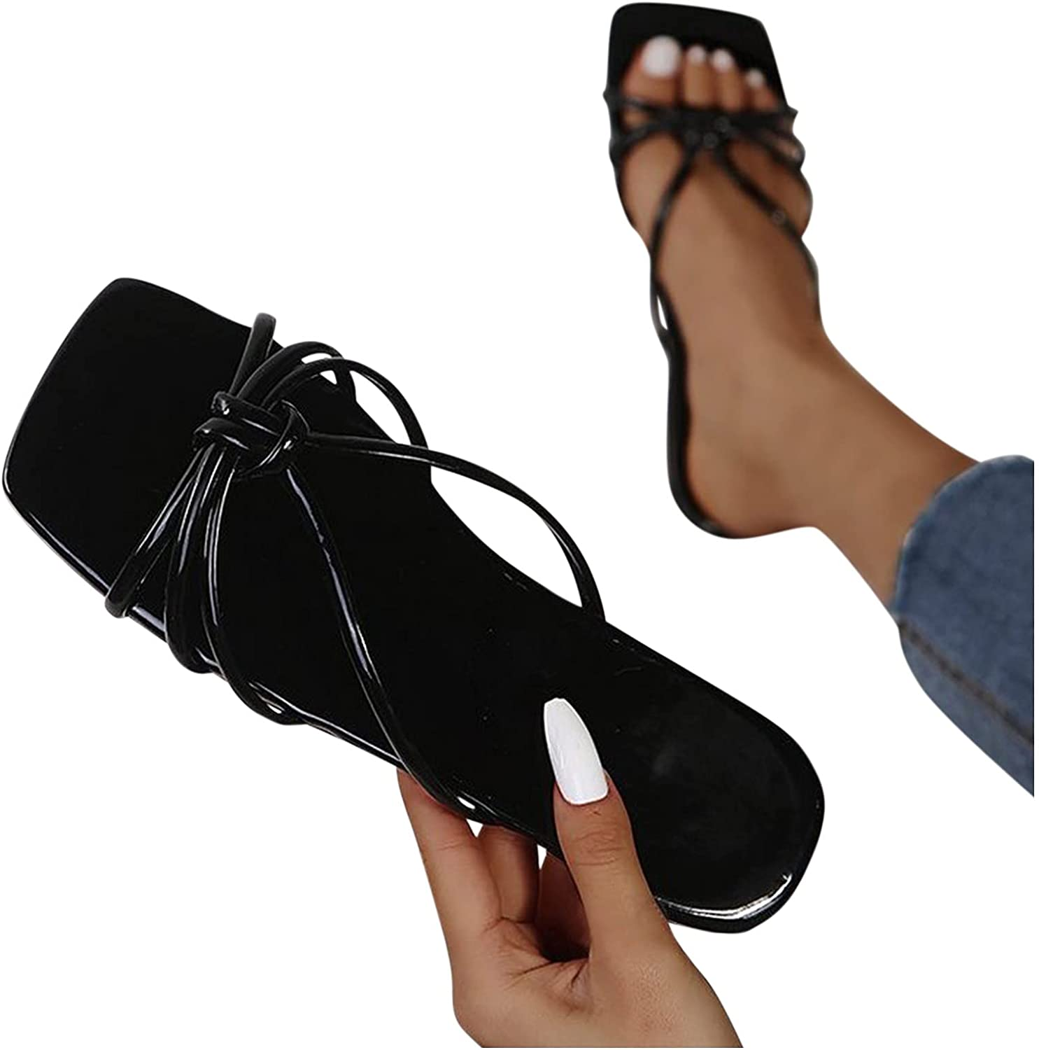 Goiwiejhg Sandals for Women Dressy Summer Solid Color Seasonal Wrap Introduction Size Cheap mail order shopping Large