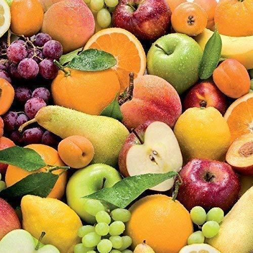 toile cirée nappe table au mètre fruits fruits c147050 taille SÉLECTIONNABLE en carré rond ovale - Bariolé, 140 x 160 cm eckig