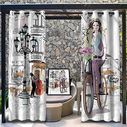 Anmaseven Paris Polyester Shade Screen Outdoor Panel Drape for Pergola, Porch, Deck and Cabana Lady Rides Bicycle Roses 96' W by 96' L(K245cm x G245cm)