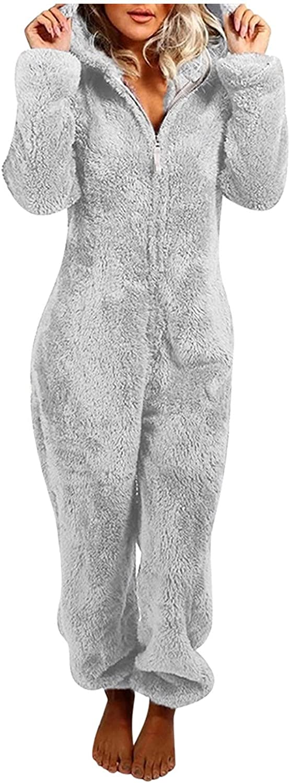 Casual Winter shipfree Warm Fleece Onesie Long SEAL limited product Sleepwear Pajama Sleeve Zi