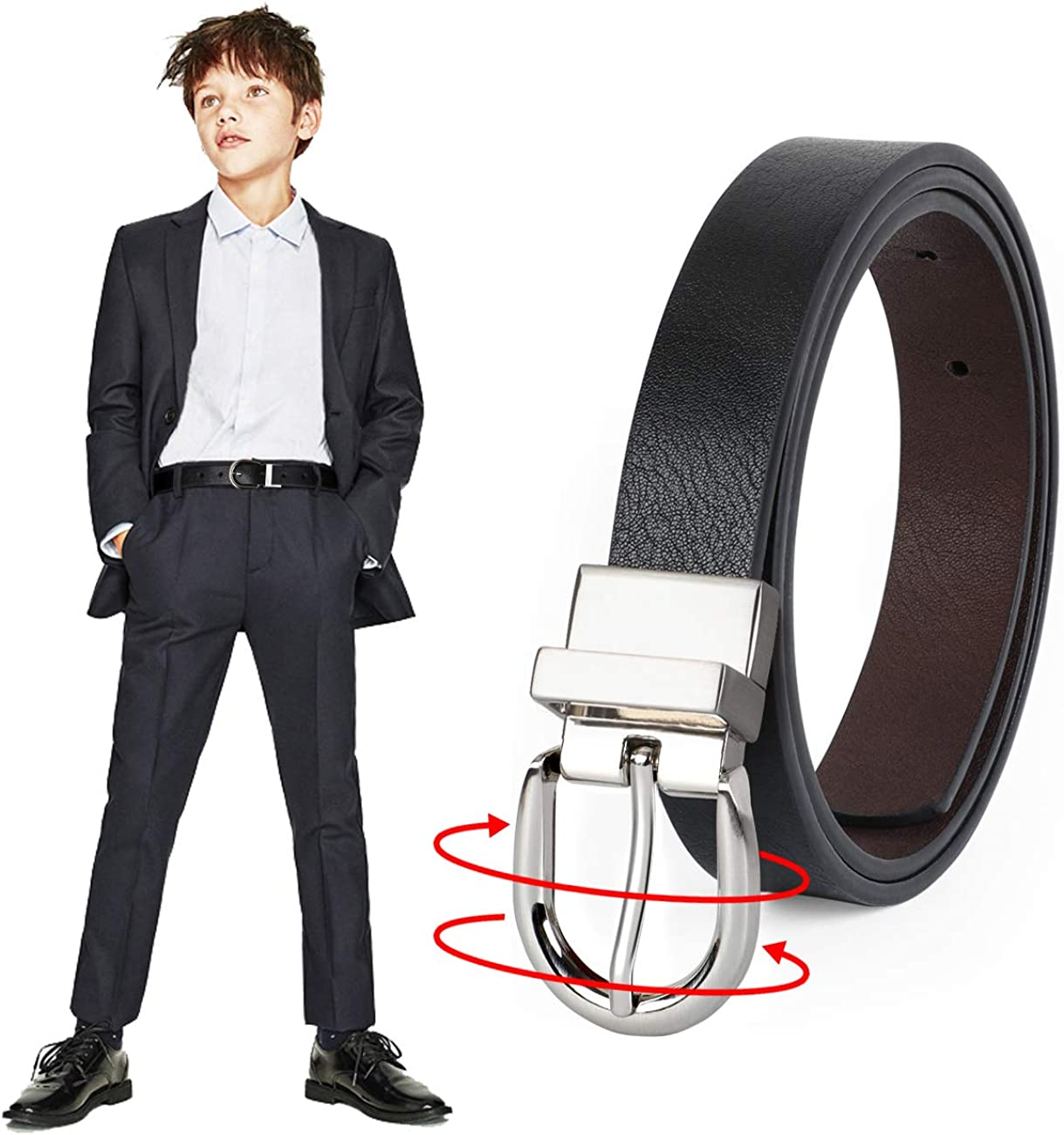 JASGOOD Kids Leather Reversible Belt, Boys Casual Belt for Jeans School Uniform with Rotated Buckle Back to School Gift