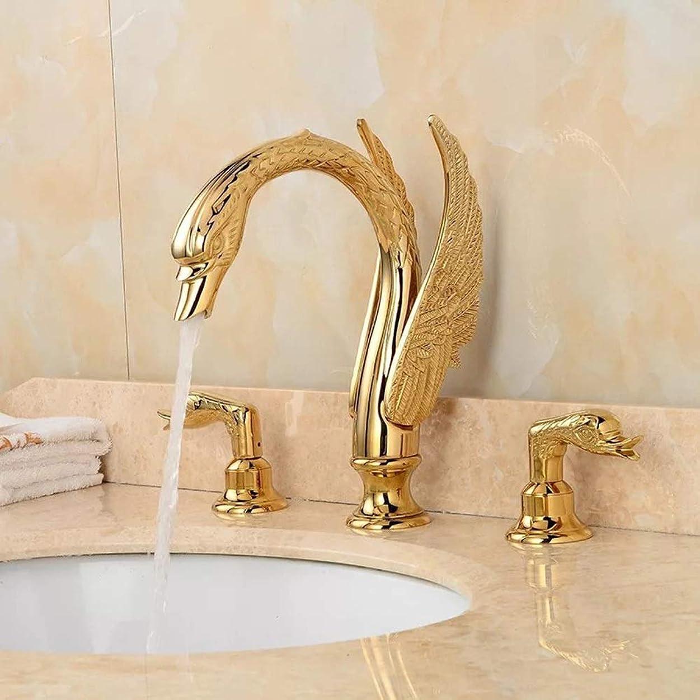 講師アカデミー圧縮されたMzgh 洗面台の蛇口浴室銅ホットとコールド蛇口ミキシングバルブミキシングバルブ洗面台ゴールドスワン蛇口 シンプルでスタイリッシュ