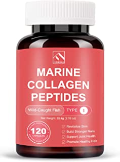 Pure Marine Collagen Peptides Pills (Type I) from Wild Caught Deep Sea Fish Skin (Not Scales), Hydrolyzed Collagen Hydrolysate Protein Supplements for Women and Men (120 Capsules)