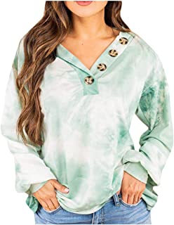 ESKNAS Women Sweatshirt Autumn Winter Tie-dye Print Pullover Tops Casual V-Neck Long Sleeve T Shirt Blouse