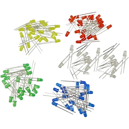 KKHMF 100個 3mm LED 発光ダイオード LED電子部品バッグ 5種類 各20個