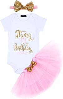 Baby Girls Birthday Outfit Romper+Ruffle Tulle Skirt+Sequins Bow Headband Valentine's Cake Smash Dress Clothes 3Pcs Set