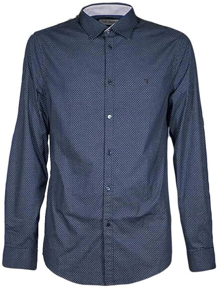Trussardi jeans, camicia casual per uomo, maniche lunghe, 100% lino, bianca 52C00210-1T002235