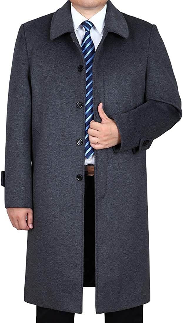 utcoco Mens Casual Insulated Thicken Fleece Lapel Single-Breasted Long Wool-Blend Peacoat